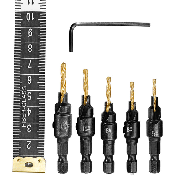 5pcs Countersink Drill Bit for Screw Sizes 5 6 8 10 and 12 - EconomicShopping