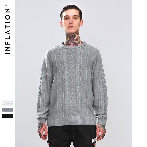 INFLATION Brand Fashion Mens Sweaters O-neck Pullovers Men Knitwear Thick Warm Casual Sweater For Men 2018 F/W Collecrtion 8739W
