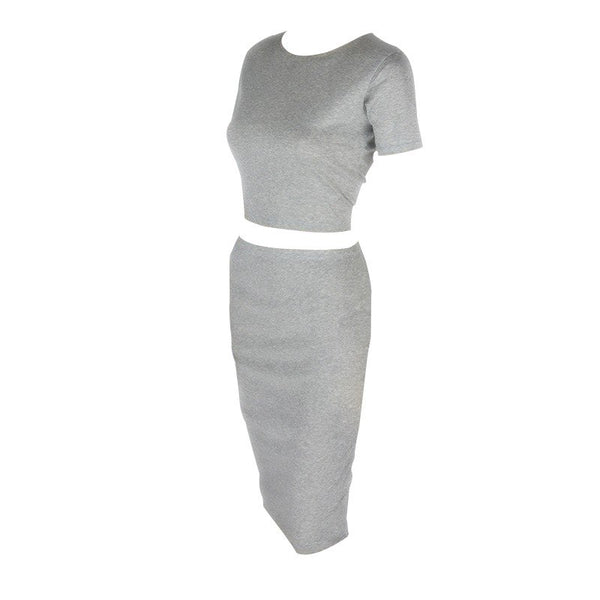 2 pieces set women suit summer bodycon slim sexy crop top and skirt set female gray hip two piece outfit short skirt to knee qz6
