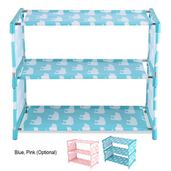 3 Tiers Non-woven Fabric Standing Shoe Rack DIY Shoes Shelf Cute Storage Shelf Home Organizer Wall Standing Cute Shoes Shelf