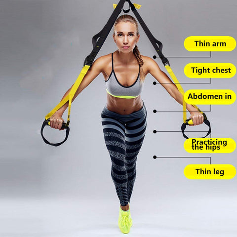 Joytutus Suspension Trainer Kit Body Resistance bands Training Straps Complete Kit Workouts Exercises Strength Flexibility