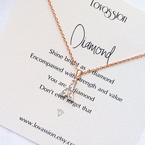17KM Fashion Cubic Zirconia Tower Pendant Necklaces For Women Girls Gift Rose Gold Silver Color Crystal Necklace Female Jewelry