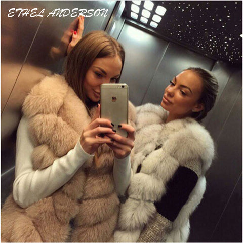 100% Real Fox Fur Vest Natural Whole Fox Fur Vest Gilet Women Regular Standard Covered Button Design Jackets Coat Plus Size 3XL