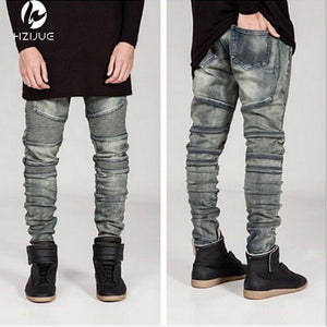 new mens Biker Jeans Motorcycle Slim Fit Washed yellow Black Grey Blue Moto Denim skinny Elastic Pants Joggers For Men jeans