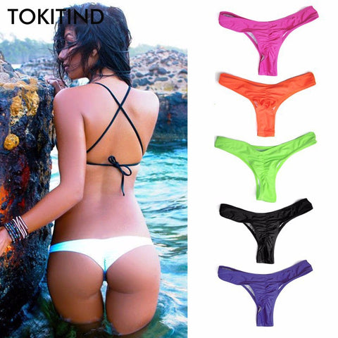TOKITIND 2019 Cheeky Bottom Sexy Brazilian Mini Thong V Shape G-String Bikini Beach Underwear Swimwear Briefs Swimsuit Panties