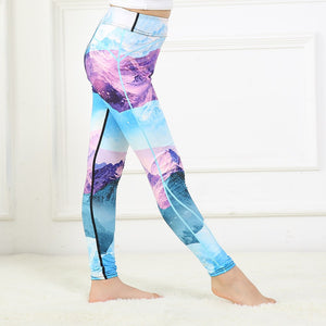 0038a26ae FRECICI Girls yoga leggings Snow Mountain blue purple galaxy prints Child  sports running workout pant fitness