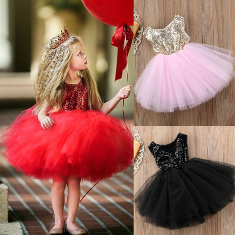 Princess Kids Baby Fancy Wedding Dress Sleeveles Sequins Party Dress For Girl Summer Dresses