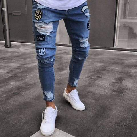 Dropshipping Stretchy Ripped hiphop Jeans Men Cartoon Patch Skinny Hole Embroidered Jeans Slim Fit Denim Pants Men's Trousers