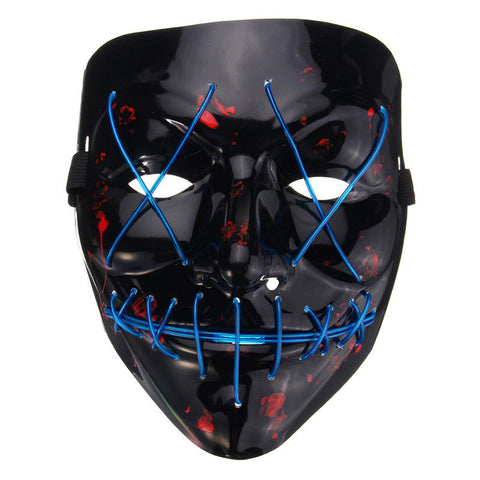 LED Light Mask Up Flash EL Wire DJ Party Raver Scary Masquerade Funny Mask Halloween Costume Festival Cosplay Masks Fashion 2018