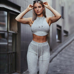 Women Yoga Set 2 Piece Gym clothes Solid Vest Pants Fitness clothings Women Elastic Running Yoga Set Sports Suit  wear Bra+Pant