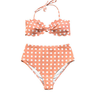 Pink Polka Dot Scallop Bikini Sets