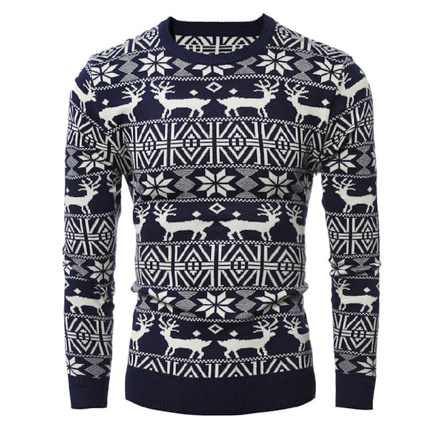 LASPERAL Winter Warm Christmas Sweater Men Fashion Deer Print Pullover Sweater Autumn Long Sleeve Knitting Slim Fit Male Sweater