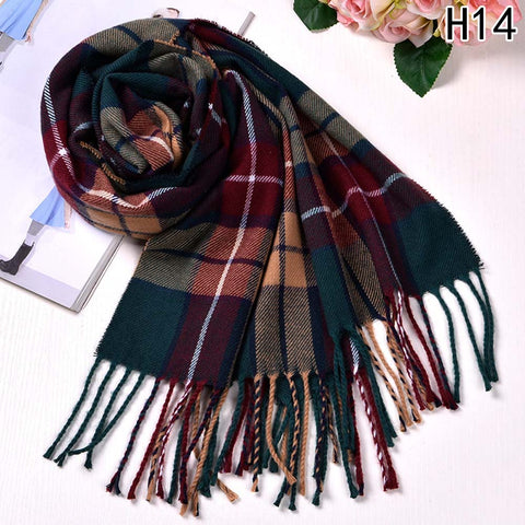 Autumn Winter Female Wool Plaid Scarf - EconomicShopping