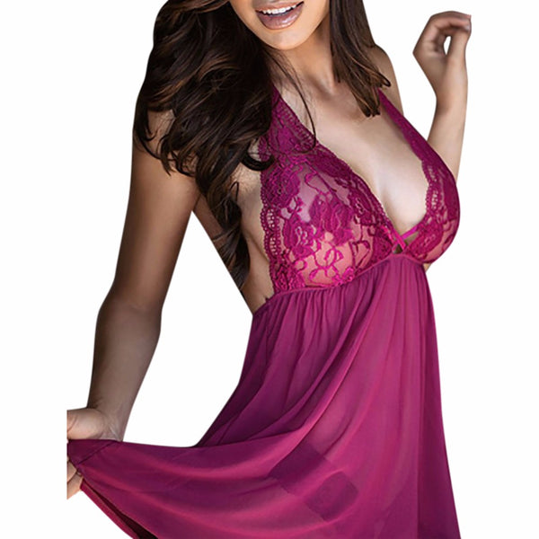 Plus Size Sexy Lace Hang Neck Sexy Temptation Big Yards Pajamas Appeal Sexy Lingerie Dress+G-string