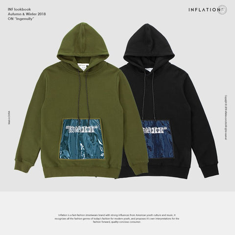 INFLATION FW Basic Series High Quality PVC Pocket Hoodies Casual Sportswear2018 Autumn Brand Male Pocket Drawstring Hoody 8628WN