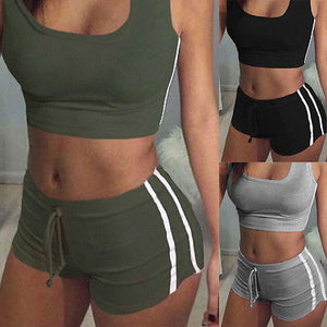 GLANE Yoga 2pcs Women Belt Suit Set Padded Bra Sleeveless Tops+Belt Shorts Fitness Running Yoga Gym Sports