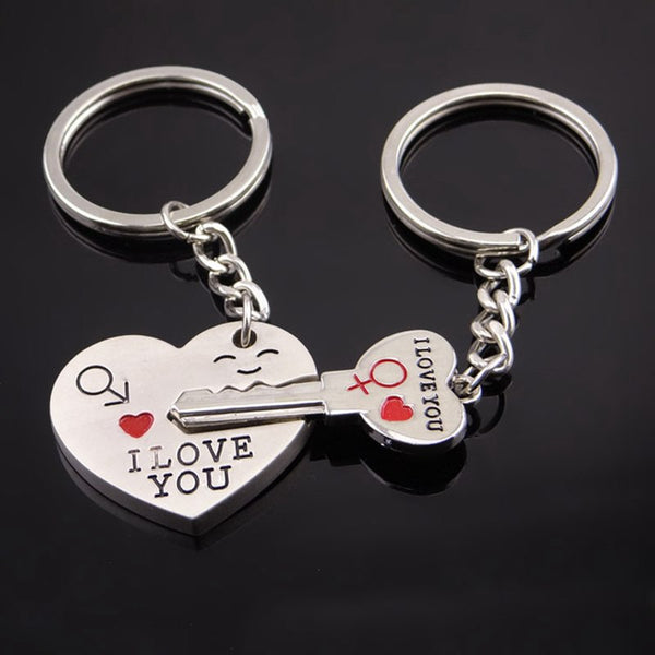 SUTEYI Fashion Heart Key Ring Silver Color Lovers Love Key Chain Valentine's Day gift 1 Pair Couple I Love You Letter Keychain