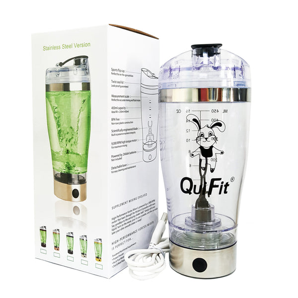 Free Shipping Electric Protein Shaker Bottle 450/600ml QuiFit USB Rechargeable Portable Vortex Mixer Powder Blender BPA Free - EconomicShopping