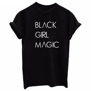 2018 BLACK GIRL MAGIC Letters Print Women tshirt Cotton Casual Funny t shirt For Lady Top Tee Plus Size