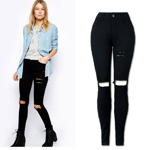 Cool Ripped Knee Cut Leggings Jeans High Waist Skinny - EconomicShopping