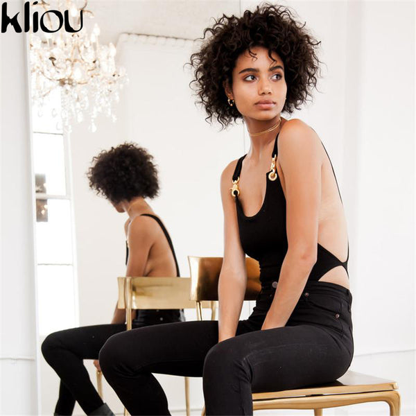Kliou 2017 Sexy Spaghetti cotton Strap Backless fit Romper Body Siamese Bodysuit Slim Skinny Tight Jumpsuit Undershirt Playsuits