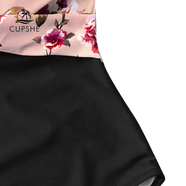CUPSHE Pink Floral One-Piece Swimsuit Women High Leg Cut Sexy Monokini Bathing Suits 2019 Gril Beach Bathing Suit Swimwear