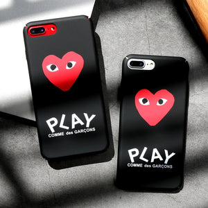 luxury brand CDG Play Comme des Garcons Hard Matte Protect Cases For iphone X 6s 6 7 Plus 8 8plus Phone Cover coque case