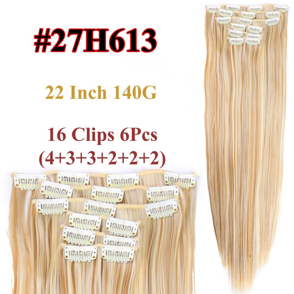 16 Colors 16 Clips Long Straight Synthetic Hair Extensions