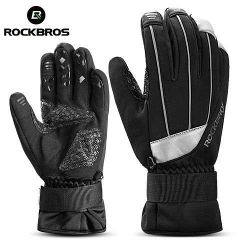 ROCKBROS Winter Waterproof Touch Screen Bicycle Bike Gloves Anti-slip Warm Fleece Reflective Cycling Gloves For Skiing Snowboard