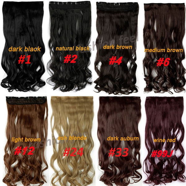 s-noilite 24 inch(61cm) Long Synthetic Hair Clip In Hair Extension Heat Resistant Hairpiece Natural Wavy Curly Hair Piece