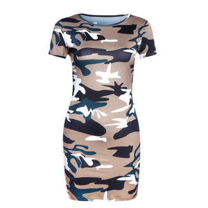 Army Green Printed Bodycon Casual Mini Dress - EconomicShopping