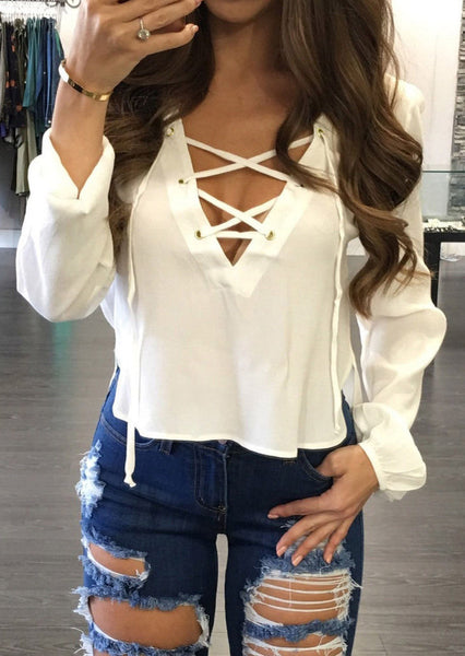 Fashion Women Ladies Long Sleeve Loose Blouse Summer V Neck Casual Sexy Lace Up Shirt Tops