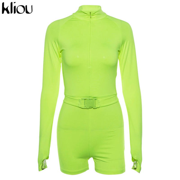 Fluorescence Solid Color Playsuits