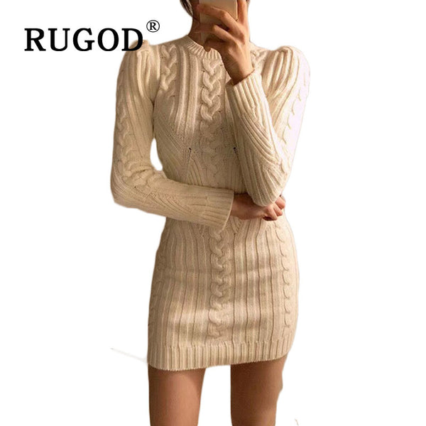 Spring New Year Casual O Neck Long Knitted Sweater Dress
