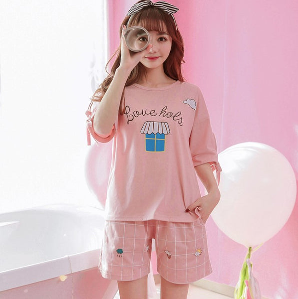 Short Pants + Short Sleeve Tops Pajamas 2pcs/set