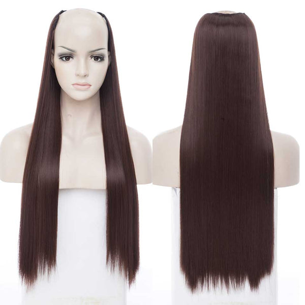 "S-noilite202g 26""  Synthetic Hair Extensions  Clips in  Long Silky Straight Hairpiece For Women U part hair black brown"