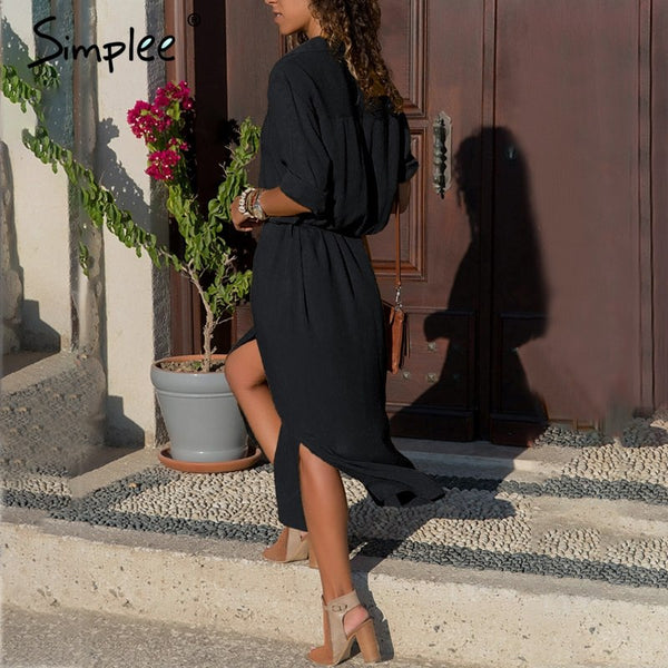Simplee Casual buttons long dress shirt office lady Vintage women dress plus size autumn V neck chiffon summer dress streetwear