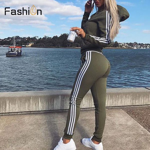 New 2018 2Pcs Women Set Ladies Tracksuit Crop Tops Hoodies Sweatshirt Pants Sets Lady Leisure Wear Casual Suit Plus Size