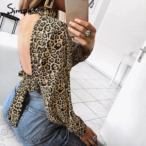Simplee Sexy leopard blouses women chiffon blouse plus size Turtleneck long sleeve crop top shirt Autumn winter blusas mujer