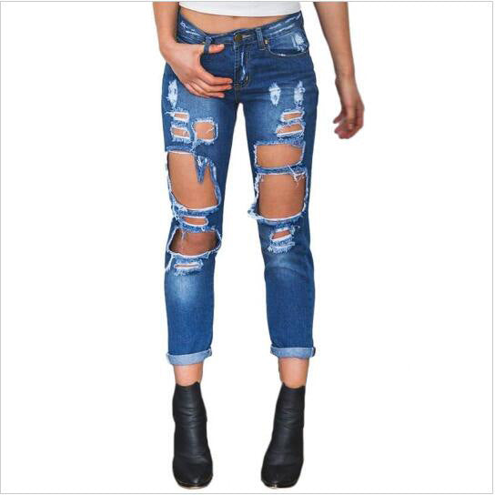Fashion Womens Destroyed Ripped Jeans Distressed Hole Jeans Trousers Wild sexy exaggerated big hole beggar boyfriend jeans 1 - EconomicShopping