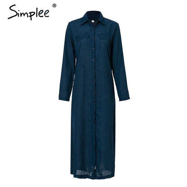 Casual Buttons Long Dress