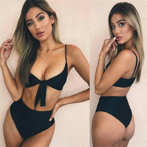 Sexy Bandage Tie Front Women Swimming Bikini Suit Summer Classic Vocation Biquini Wear Black/Yellow Padded Top Beach Wear sale