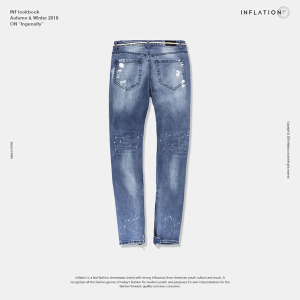 INFLATION Mens Street Style Ripped Skinny Jeans Damage Wash Denim Jeans Elactic Hole Denim Jeans Blue Color Jeans 81171W