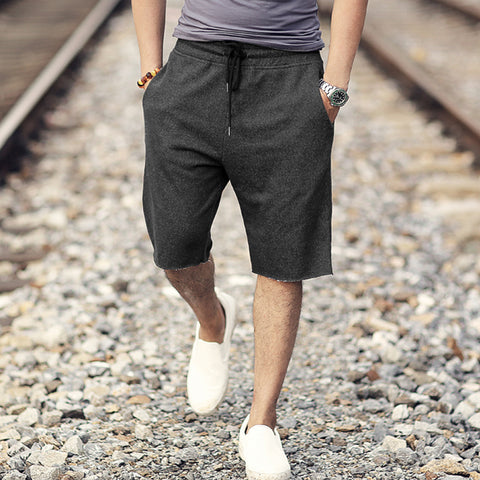 Summer New Men's Trend Grey Beach Casual Loose Shorts Men Cotton Fashion Brand Elasticed Waist Solid European Style Shorts K885