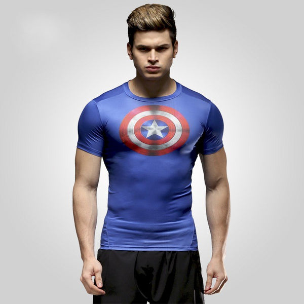 marvel batman Captain America t-shirt hot superman t shirt men joges Punisher Superhero tights quick-dry T-shirt Summer clothing