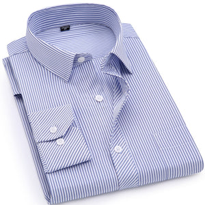 Men Business Casual Long Sleeved Shirt Classic Striped Male Social Dress Shirts