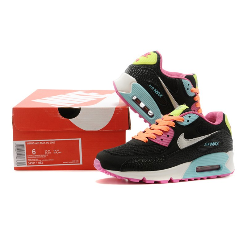 timeless design f5b07 bf3db ... Original NIKE Air Max90 Women s Running Shoes, Black   Pink, Shock  Absorption Wear- ...