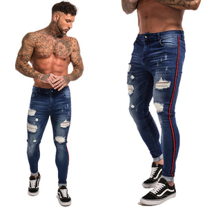 Gingtto Ripped Jeans For Men Hip Hop Super Skinny Men Jeans Stretch Blue Jeans Designer Brand Fashion Slim Fit Dropshipping zm21