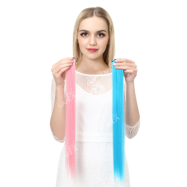 "20"" Long Straight Fake Colored Hair Extensions Clip in Highlight Rainbow Hair Streak Ombre Pink Synthetic Hair Strands On Clips"