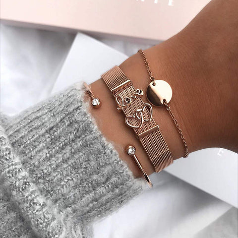 Fashion Couple Love Stainless Steel Bracelets & Bangles Gold Color Watch Belt Cuff Bracelet for Women Men Jewelry Best Gift